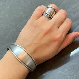 Silver Set Bracelet & Ring Vintage Hippie Casual